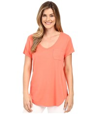 Lilla P Fine Rib Short Sleeve Pocket Tee Guava Women's T Shirt Pink