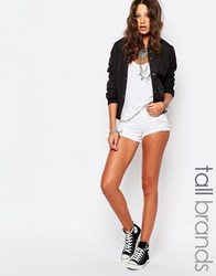 Noisy May Tall Ripped White Denim Shorts White