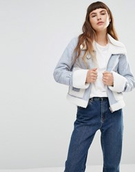 Urbancode Faux Shearling Aviator Jacket With Oversize Pockets Ice Blue