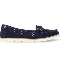 Dune Galley Suede Boat Shoes Navy Suede