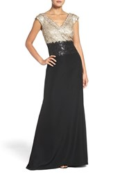 Tadashi Shoji Women's Sequin Woven Fit And Flare Gown