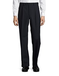 Lauren Ralph Lauren Wool Blend Straight Leg Pants Navy