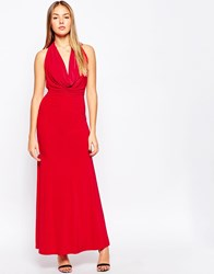 Club L Cowl Front Slinky Maxi Dress Red
