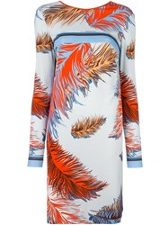 Emilio Pucci Feather Print Shift Dress Yellow Orange