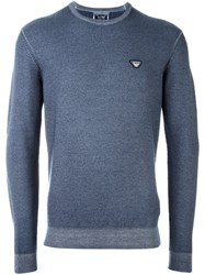 Armani Jeans Logo Patch Pullover Blue