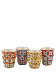 Pols Potten Color Hippy Set Of 4 Porcelain Cups