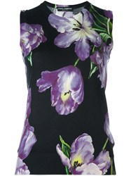 Dolce And Gabbana Tulip Print Tank Top Black