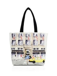 Saks Fifth Avenue Saksstyle Store Front Canvas Tote White Multi