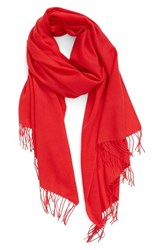 Nordstrom Women's Tissue Weight Wool And Cashmere Scarf Red Pepper
