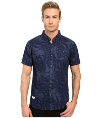 7 Diamonds Waves Of Nature Short Sleeve Shirt Navy Men's Short Sleeve Button Up