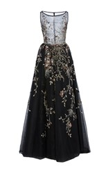 Georges Hobeika Sheer Bodice Embroidered Sabrina Gown Black