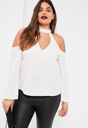 Missguided Plus Size White Choker Neck Blouse
