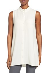Eileen Fisher Women's Silk Georgette Crepe Stand Collar Tunic Bone
