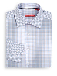 Report Collection Regular Fit Checked Cotton Dress Shirt Blue