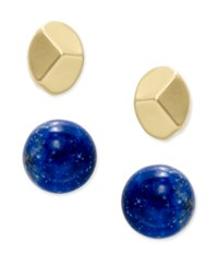 Charter Club Gold Tone 2 Pc. Set Polished Metal And Round Stone Stud Earrings Only At Macy's