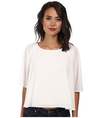 Sam Edelman 3 4 Dolman Sleeve Flounce Tee Bright White Women's Blouse