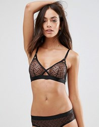 Weekday Lace Caged Bra Black