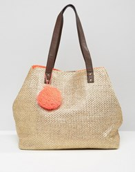 New Look Metallic Straw Pompom Tote Bag Gold
