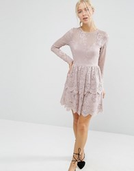 Asos Mini Skater Dress With Lace Tiered Hem Mink Beige