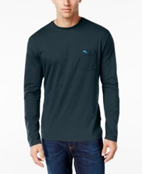 Tommy Bahama Men's Big And Tall Pima Long Sleeve T Shirt Blue Note