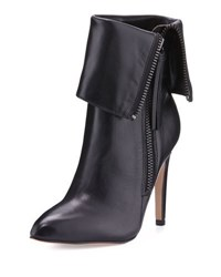 Neiman Marcus Minix Leather Cuffed Bootie Black Blac