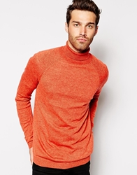Asos Roll Neck Jumper In Cashmere Blend Orange