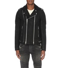 Balmain Biker Waxed Cotton Jacket Black