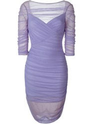 Versace 'Tulle Bodycon' Dress Pink And Purple