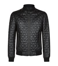 Versace Collection Quilted Leather Bomber Jacket Male Black