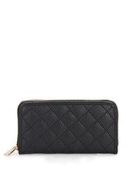 Kc Jagger Jules Quilted Faux Leather Zip Around Wallet Black