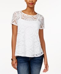 Charter Club Short Sleeve Lace Top Only At Macy's Bright White