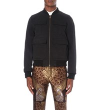 Dries Van Noten Varsey Reversible Brushed Cotton Bomber Jacket Black