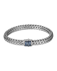 Classic Chain 7.5Mm Medium Braided Silver Bracelet Blue Sapphire John Hardy