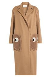 Anya Hindmarch Ghosts Virgin Wool Coat With Shearling Camel