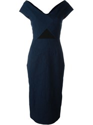 Roland Mouret Textured Fitted Rear Slit Dress Blue