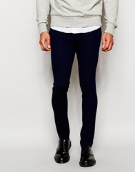 Asos Super Skinny Trousers In Jersey Navy