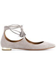 Aquazzura Ankle Strap Ballerinas Grey