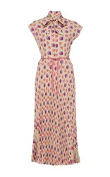 Luisa Beccaria Short Sleeve Stretch Cotton Shirt Dress Light Pink