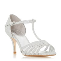Linea Mayviss T Bar Strappy Mid Heel Sandals Silver