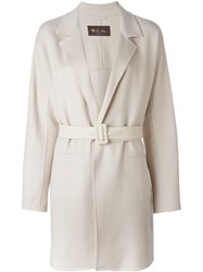 Loro Piana Belted Coat Nude And Neutrals