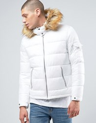 Asos Quilted Jacket With Fur Trim Hood In White White