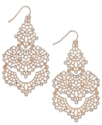 Bar Iii Rose Gold Tone Crystal Lace Chandelier Earrings