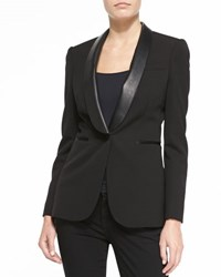 Burberry Jacket With Leather Shawl Lapels Black