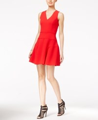 Armani Exchange Knit Fit And Flare Dress Absolute Red