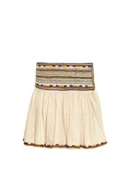 Isabel Marant Saxen Embroidered Pleated Mini Skirt Cream Multi