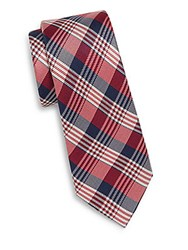 Saks Fifth Avenue Tri Plaid Silk Tie Red