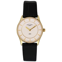 Rotary Ls08203 02 Women's Ultra Slim Stainless Steel Leather Strap Watch Black White