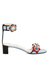 Fendi Flower Applique Leather Sandals Blue Multi