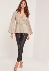Missguided Faux Suede Flared Sleeve Tie Waist Blouse Tan