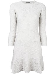 Alexander Mcqueen Jacquard Mini Dress Grey